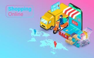 online winkelen met vrachtwagen en scooter vector