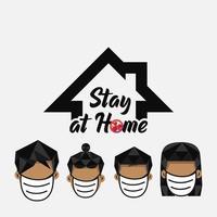 blijf thuis covid bescherming poster vector