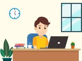 man aan het werk op laptop thuis vector