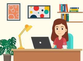 vrouw die op laptop thuis werkt vector