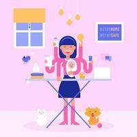 moeder multitasking tijdens zelfisolatie