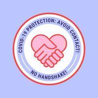 geen handdruk hart badge vector