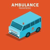 isometrische ambulance van noodvoertuig vector