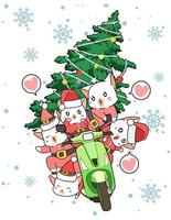 santa clausule katten rijden op bromfiets met kerstboom