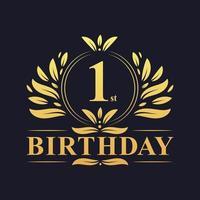 1e verjaardag gouden verloop logo vector