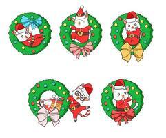 schattige kerstman kat met een kerst bloem badge vector