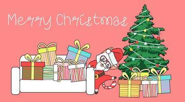 santa clausule kat dansen rond kerstboom en geschenken