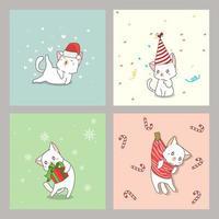 hand getrokken kat kerstkaarten instellen