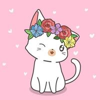hand getekende witte kat met bloemkroon