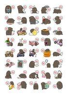 schattige beer en kat icoon collectie