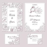 vintage bruiloft uitnodiging set vector