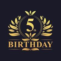 5e verjaardag gouden verloop logo vector