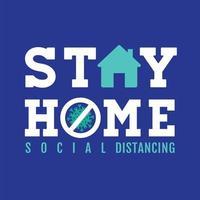 blauw verblijf thuis bord met pictogrammen