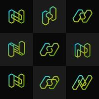 moderne neon geometrische logo-collectie