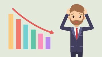 triest zakenman met beneden grafiek