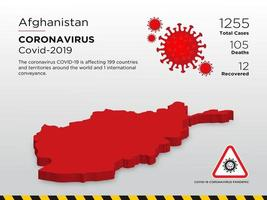 afghanistan getroffen landkaart van de verspreiding van het coronavirus vector