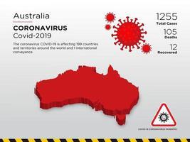 Australië getroffen landkaart van verspreiding van het coronavirus