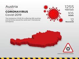oostenrijk getroffen landkaart van de verspreiding van het coronavirus