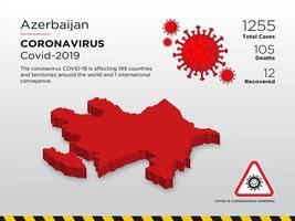 azerbeidzjan getroffen landkaart van de verspreiding van het coronavirus