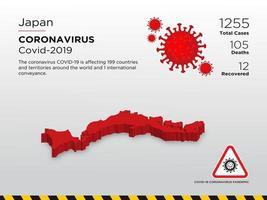 door Japan getroffen landkaart van de verspreiding van het coronavirus