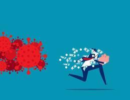 zakenman loopt van virus met geld