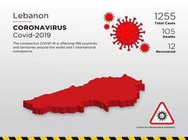 Libanon getroffen landkaart van de verspreiding van het coronavirus