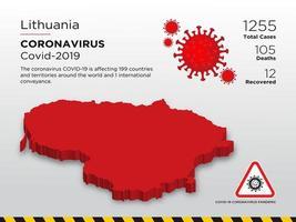Litouwen getroffen landkaart van coronavirus vector
