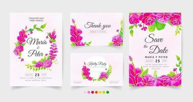 bruiloft stationair met roze aquarel rozen vector