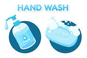 handenwas set met ontsmettingsmiddel en zeep vector