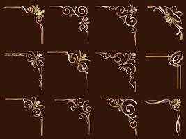 set van gouden filigraan vintage hoekframes vector