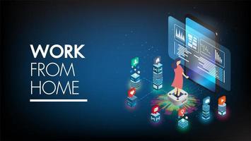 blijf thuis technologie isometrische achtergrond met karakter