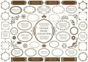 bruin vintage teken en ronde kaderset vector