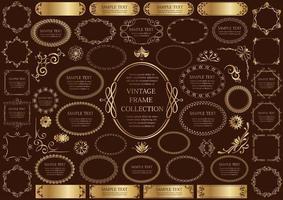 gouden vintage teken en ronde kaderset vector