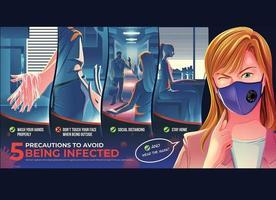 geïllustreerde poster met voorzorgsmaatregelen om besmetting te voorkomen