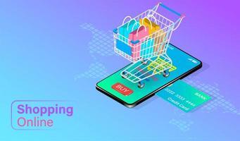 online concept winkelen met kar op mobiele telefoon