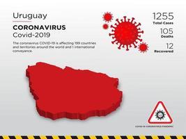 uruguay getroffen landkaart van coronavirus