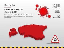 Estland getroffen landkaart van verspreiding van coronavirus vector