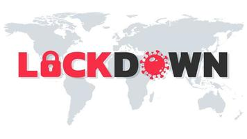 lockdown tekst op wereldkaart