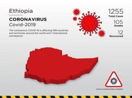door Ethiopië getroffen landkaart van de verspreiding van het coronavirus