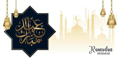 ramadan mubarak gouden moskee silhouet ontwerp