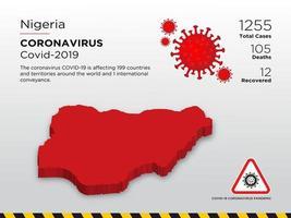 Nigeria getroffen landkaart van ontwerpsjabloon voor coronavirusziekte