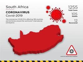 Zuid-Afrika getroffen landkaart van coronavirus