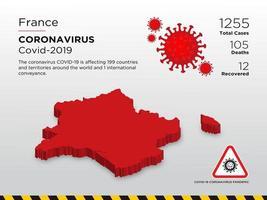 Frankrijk getroffen landkaart van de verspreiding van het coronavirus vector