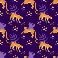 cheetah en jaguars paars naadloos patroon