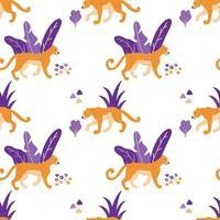 wilde jaguar katten naadloos patroon.