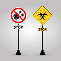 waarschuwing stopborden voor covid-19 en biologisch gevaar