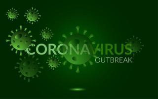 groen gloeiende coronavirus uitbraak poster vector