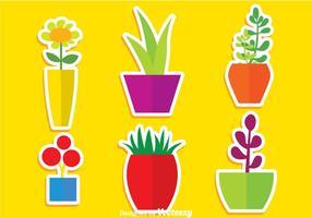 Platte Planten In Potvectoren vector