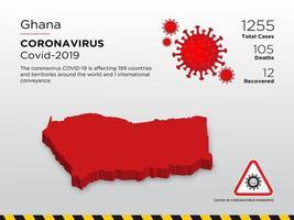 ghana getroffen landkaart van de verspreiding van het coronavirus