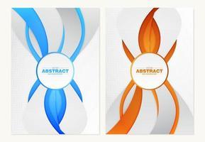 omslagen met verticale dynamische lijnen in oranje en blauw